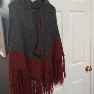 Adorable Wool Fringe Poncho with Hood and Tie